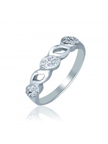 Серебряное кольцо плетеное с фианитами 1042-1p-cz