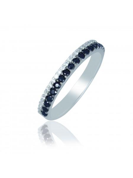 Серебряное кольцо с черными и прозрачными фианитами 1100-1p-cz-b