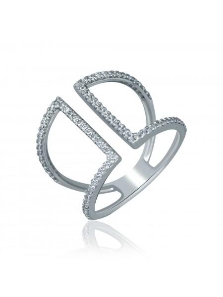 Серебряное кольцо безразмерное с фианитами 1168-1p-cz