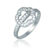 Серебряное кольцо с цветком с фианитами 1611-1p-cz