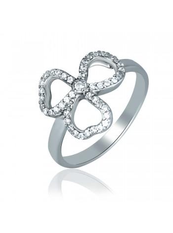 Серебряное кольцо с цветком 1613-1p-cz
