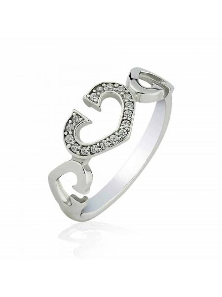 Серебряное кольцо с сердечками 1624-1p-cz