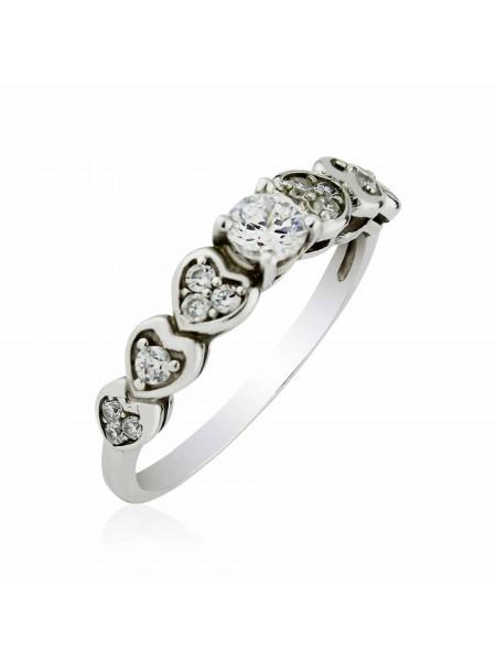Серебряное кольцо с сердечками 1023-1p