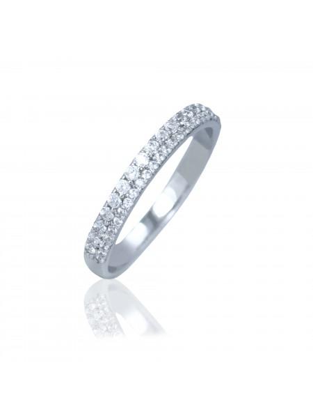 Серебряное кольцо женское тонкое с фианитами 1100-1p-cz