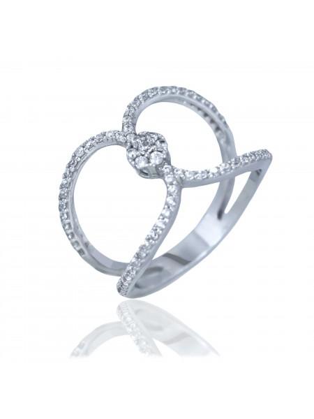 Серебряное кольцо женское с фианитами 1121-1p-cz