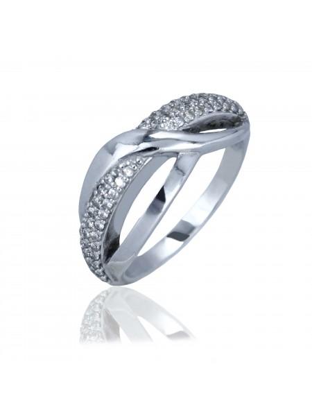 Серебряное кольцо плетеное с фианитами 1211-1p-cz
