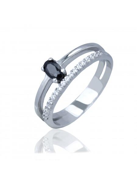 Серебряное кольцо с черным камнем 1405-1p-cz