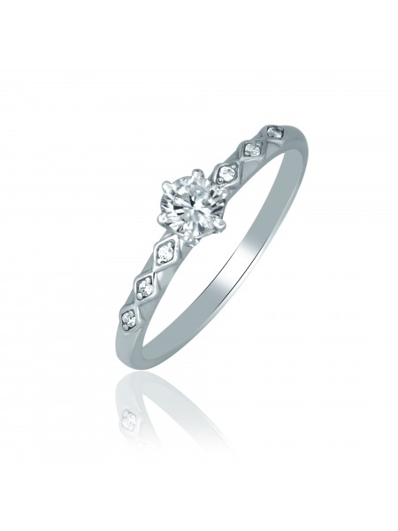 Серебряное кольцо женское тонкое с фианитами 1246-1p-cz