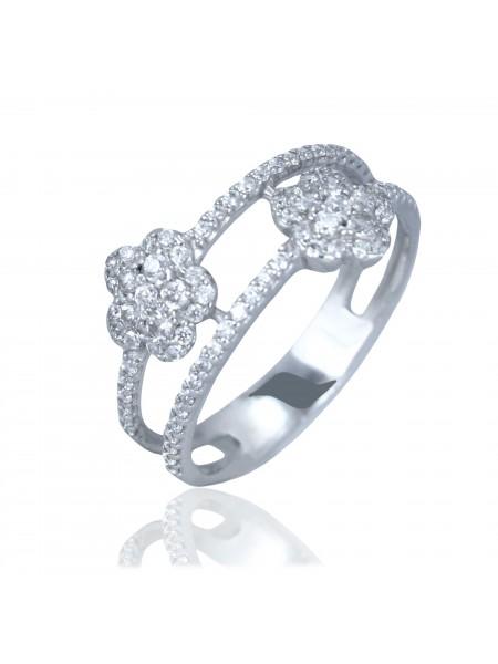 Серебряное кольцо с цветком 1330-1p-cz