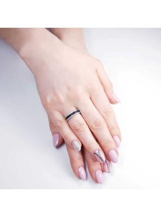 Серебряное кольцо с черными и прозрачными фианитами 1110-1p-cz
