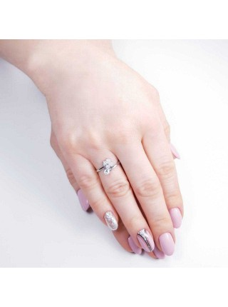 Серебряное кольцо с цветком 1213-1p-cz