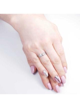 Серебряное кольцо с сердечками 1215-1p-cz