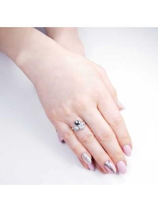 Серебряное кольцо с цветком 1619-1p-cz