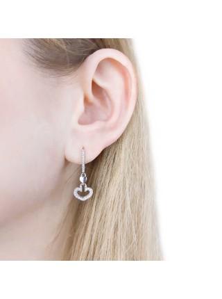 Серебряные серьги висюльки сердечки с фианитами 2201-1p-cz