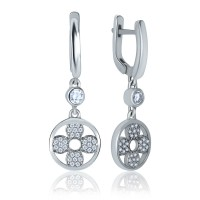 Серебряные серьги висюльки с фианитами 2067-1p-cz