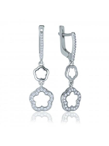 Серебряные серьги висюльки в виде цветка с фианитами 2187-1p-cz