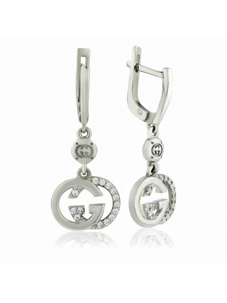 Серебряные серьги висюльки с фианитами 2228-1p-cz
