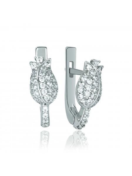Серебряные серьги в виде цветка с фианитами 2684-9p-cz