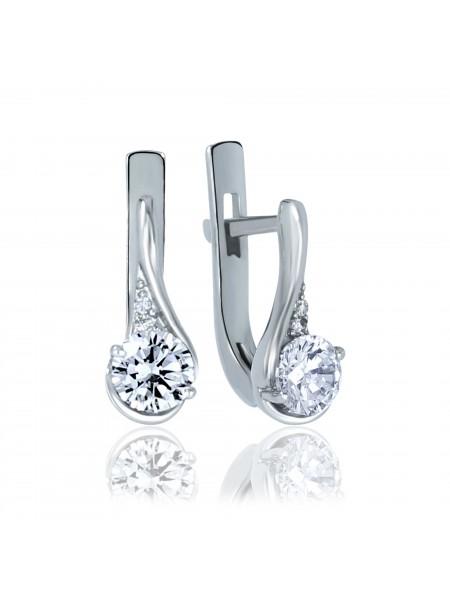 Серебряные серьги стильные с фианитами 2703-9p-cz