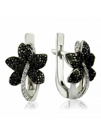Серебряные серьги в виде цветка с черными фианитами 2718-9p-cz