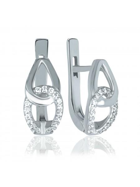 Серебряные серьги стильные с фианитами 2773-9p-cz