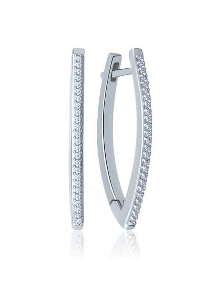 Серебряные серьги стильные с фианитами 2783-9p-cz