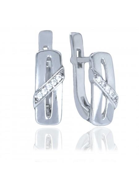 Серебряные серьги стильные с фианитами 2791-9р-cz