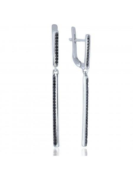 Серебряные серьги висюльки палочки с черными фианитами 2802-9p-cz