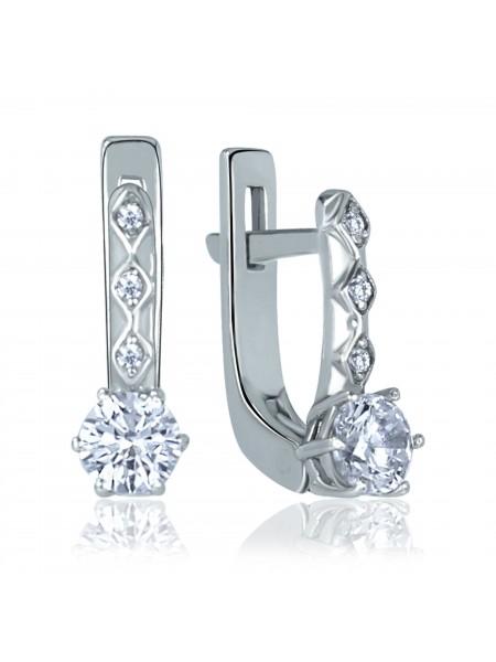 Серебряные серьги стильные с фианитами 2826-9p-cz