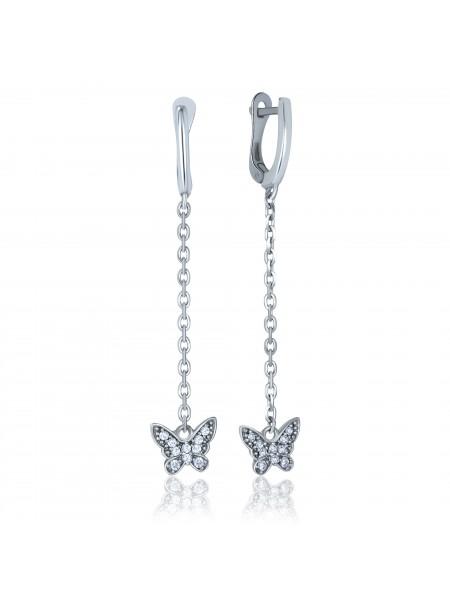 Серебряные серьги висюльки с фианитами 2863-9p-cz