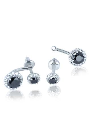 Серебряные серьги джекеты 2432-9p-cz-b