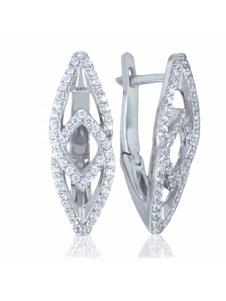 Серебряные серьги стильные с фианитами 2769-1p-cz