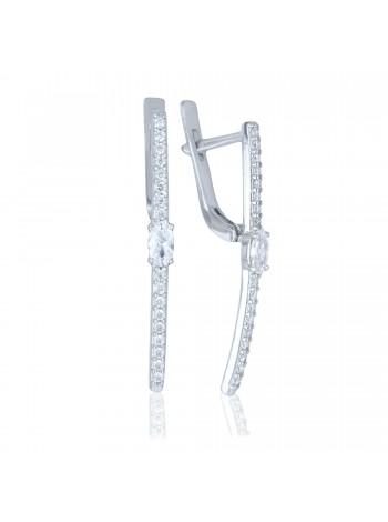 Серебряные серьги палочки с фианитами 2946-9p-cz