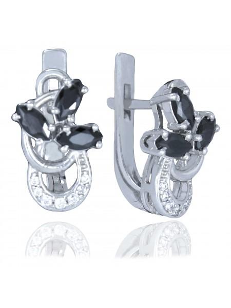 Серебряные серьги в виде цветка с фианитами 2385-9p