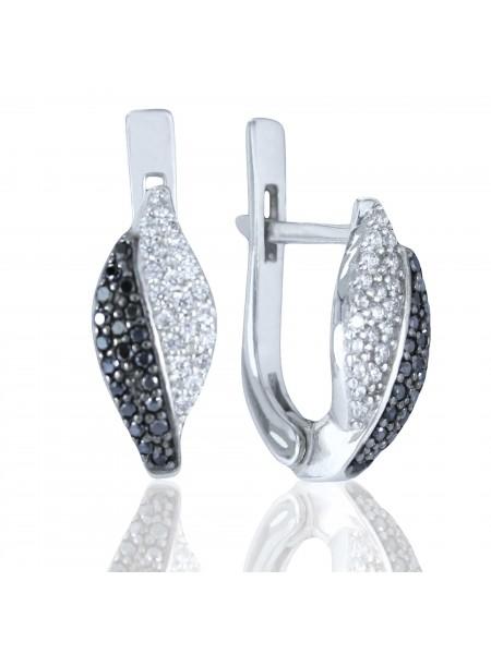 Серебряные серьги стильные с черными фианитами 2787-9p-cz