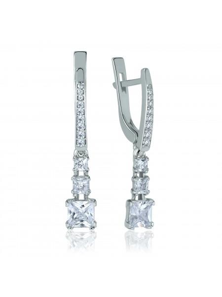 Серебряные серьги висюльки с фианитами 2993-9p-cz