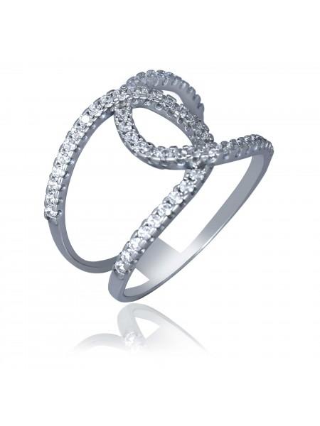 Серебряное кольцо плетеное с фианитами 380349C