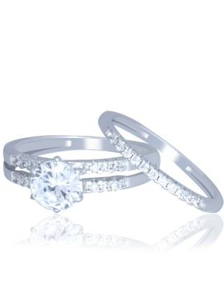 Серебряное двойное кольцо Неразлучная пара 380358C