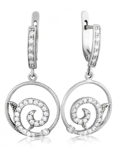 Серебряные серьги висюльки с фианитами 3122578401