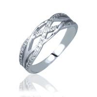 Серебряное кольцо плетеное с фианитами 3212108401