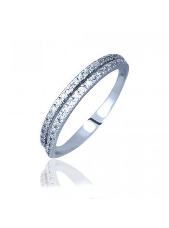 Серебряное кольцо женское тонкое с фианитами 3512297401