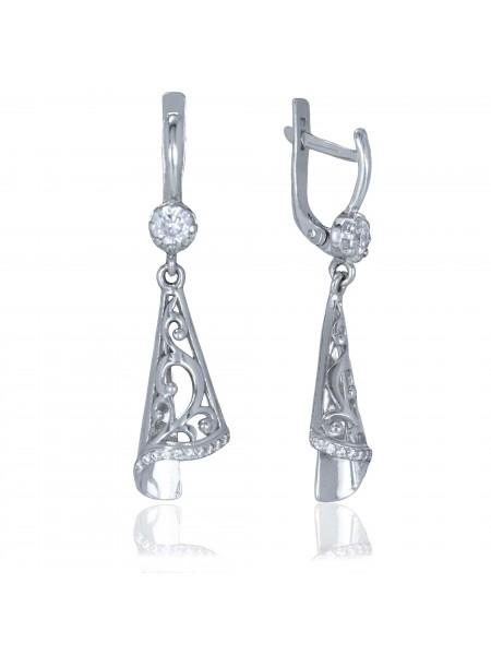 Серебряные серьги висюльки с фианитами 3122507401