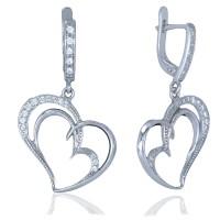 Серебряные серьги висюльки сердечки с фианитами 3122579401