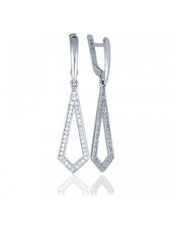 Серебряные серьги висюльки геометрические с фианитами 3222557401