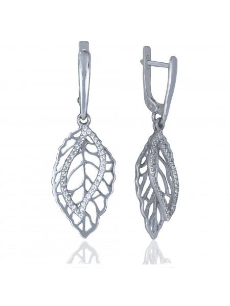 Серебряные серьги висюльки листики с фианитами 3222688401