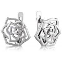 Серебряные серьги в виде цветка с фианитом 3122671401