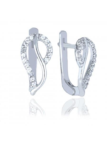 Серебряные серьги стильные с фианитами 3122280401