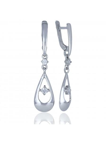 Серебряные серьги висюльки с фианитами 3122738401