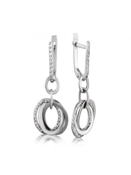 Серебряные серьги висюльки с фианитами 3222699401